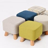 家逸 简约实木换鞋凳 沙发凳软凳儿童换鞋凳实木脚四腿矮凳梳妆凳现代沙发凳四色可选