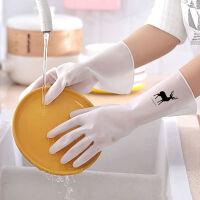2双装洗碗手套女厨房加绒耐用型防水家务洗衣服丁腈橡胶胶皮洗碗神器