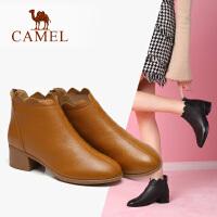 camel骆驼2018秋季新款简约复古方跟短筒裸靴子英伦风牛皮短靴子裸靴