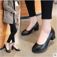正装礼仪职业鞋高跟鞋黑色女单鞋中跟小皮鞋