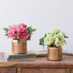 美庭 欧式复古镀金粉色玻璃花瓶 现代家居客厅电视柜摆件