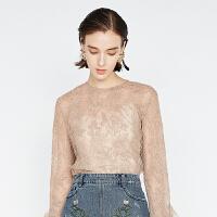 DAZZLE地素 18秋专柜新款 性感蕾丝喇叭袖衬衫小上衣 2F3D5137J