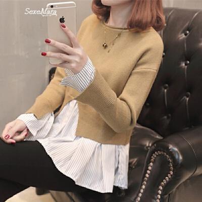 女士毛衣春装2018新款韩版低圆领拼接毛衣裙打底衫外穿时尚百搭潮 发货周期:一般在付款后2-90天左右发货,具体发货时间请以与客服协商的时间为准