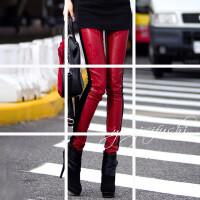 秋冬季新款时尚酒红色蝴蝶刺绣拼皮黑色丝绒显瘦小脚打底裤女