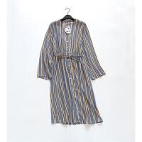 N351特日单品牌下客供条纹面料日式单层连衣裙开衫