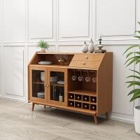 北欧实木餐边柜酒柜组合简约现代茶柜玄关柜客厅储物柜收纳柜家具 双门