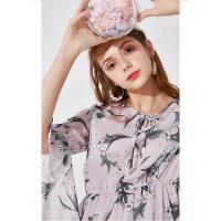 秋水伊人连衣裙2020夏装新款女装印花气质修身厌世风裙子女