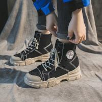 犸凯奴秋冬新款英伦风马丁靴高帮增高运动鞋女款百搭显瘦女鞋