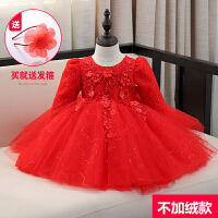 童装女童连衣裙儿童公主裙加绒宝宝长袖秋新款婚纱裙花童晚礼服