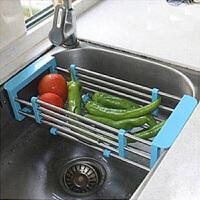 厨房沥水架沥水篮伸缩碗筷沥水架不锈钢水槽架晾碗架水池淋水架可伸缩洗菜水果篮子