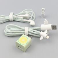 柠檬菠萝苹果X数据线保护套充电器保护绳iPhone7plus6S8时尚贴纸