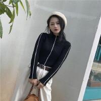 新款港味复古chic风黑白线条撞色修身显瘦套头打底针织衫 女 均码