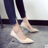 百搭职业单鞋猫跟鞋新款尖头高跟鞋女细跟性感浅口工作鞋
