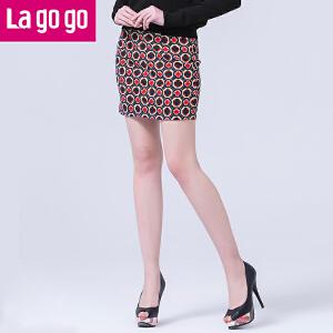 lagogo拉谷谷新款韩版高腰短裙包裙包臀裙一步裙春秋复古民族风潮