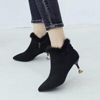 冬秋季2019新款高跟短靴女黑色尖头细跟靴子女猫跟裸靴短筒网红靴