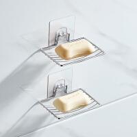 免打孔不锈钢肥皂架浴室吸壁式香皂盒卫生间单层双层沥水皂碟架