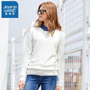 [超级大牌日每满299-150]真维斯针织衫女2018冬装新款女士圆领加绒绣花长袖毛衣学院风线衫