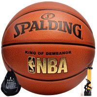 【赞商品】SPALDING 斯伯丁篮球 经典NBA儿童成人 lanqiu 室内外比赛7号PU 蓝球 76-167Y