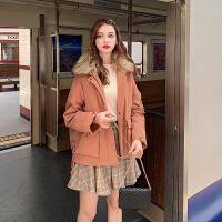 MG小象短款大毛领棉袄2019年新款冬季外套女韩版宽松棉衣工装