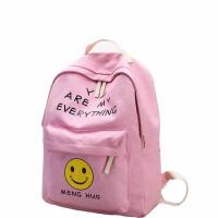 帆布双肩包女趣味笑脸印花休闲四件套子母背包初中高中学生书包