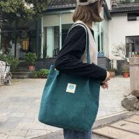 2018新款灯芯绒单肩包女韩国学生帆布包大容量文艺简约百搭购物袋 墨绿色 优质面料 带内里