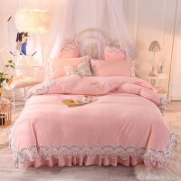 冬季珊瑚绒四件套床裙式公主风少女心双面绒被套加厚保暖床上用品