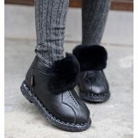 季新款真獭兔毛儿童雪地靴短靴宝宝缝包棉鞋保暖鞋棉靴防滑童