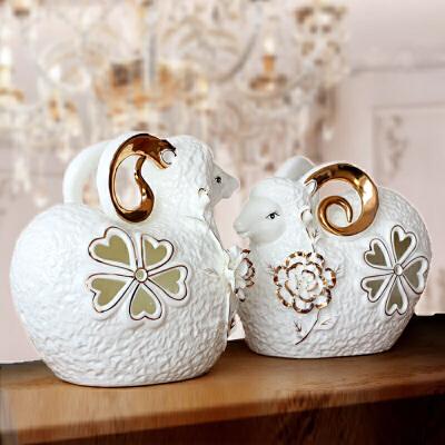大号羊摆件现代简约生肖三羊开泰 客厅工艺品陶瓷新房家装饰品