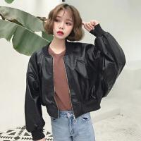 秋冬女装韩版bf宽松百搭棒球服pu皮短款皮衣学生长袖夹克小外套潮