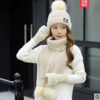 休闲毛线帽子女新款时尚字母百搭韩版潮围巾三件套两件套