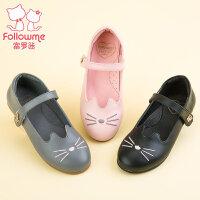 富罗迷女儿童皮鞋2017秋季新款女童鞋真皮单鞋女大童公主方口皮鞋