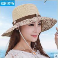 防紫外线女夏天防晒百搭草帽可折叠大沿草帽旅游太阳帽子