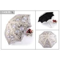 蕾丝太阳伞夏季防晒刺绣黑胶遮阳伞二折洋伞晴雨伞女 灰色 二折
