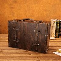 欧式复古手提箱储物做旧皮箱旅行箱家用大号衣服收纳箱拍照道具箱