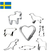 【当当海外购】瑞典进口Orthex 不锈钢烘焙饼干曲奇模具水果切模8件套装 动物保护主题(11cm)