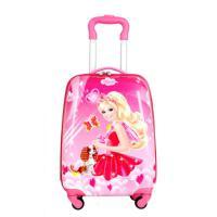 儿童行李旅行箱男女童小孩学生可爱卡通蛋壳书包18寸公主行拉杆箱女孩手拉上学行李箱小学生3-6-9年级 芭比18寸