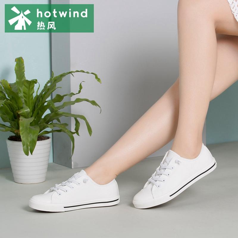 热风hotwind秋款平底鞋女布鞋低帮系带休闲鞋单鞋H14W7106此鞋正码,脚偏胖/偏宽/脚背高可选大一号