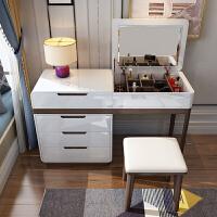 北欧烤漆翻盖带镜梳妆台 卧室小户型简约现代迷你电脑化妆一体桌 组装