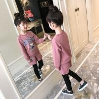 女童短裤假两件套装2018新款春装韩版中大童字母卫衣长裤两件套