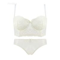 白色蕾丝五排扣调整型收副乳大胸胖mm内衣文胸套装性感小胸聚拢