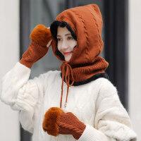 韩版潮套帽女士毛线帽子 户外加绒加厚保暖帽 新款护耳针织帽手套围脖套装女