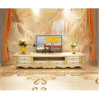 实木电视柜 纯实木香槟银色红龙玉大理石2.4米长地柜美式雕花矮柜 整装