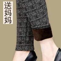 秋冬季外穿高腰中年打底裤加绒加厚中年女装妈妈裤子保暖花长裤
