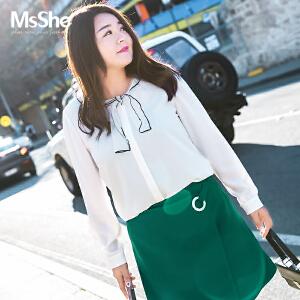 MsShe加大码女装2017新款冬装韩版甜美蝴蝶结雪纺衫M1740658