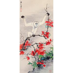 田世光《白猿》纸本镜片