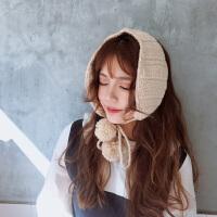 韩国时尚ins毛线耳罩女冬季保暖可爱耳暖韩版复古针织系带耳包耳套