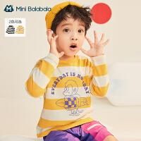 迷你巴拉巴拉儿童长袖T恤2021春季新款男童柔软舒适全棉上衣T恤