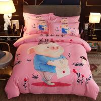 【官方旗舰店】卡通磨毛四件套全棉纯棉男孩儿童女孩公主三件套床单床笠床上用品