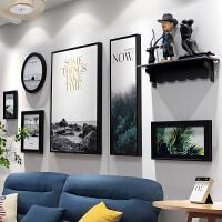 北欧照片墙相框墙现代客厅装饰画相框挂墙结婚礼物墙面装饰免打孔家居日用家装软饰 全黑色 远方 置物架