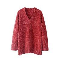 女装秋冬新款欧美风港味气质V领针织衫长袖雪尼尔毛衣女